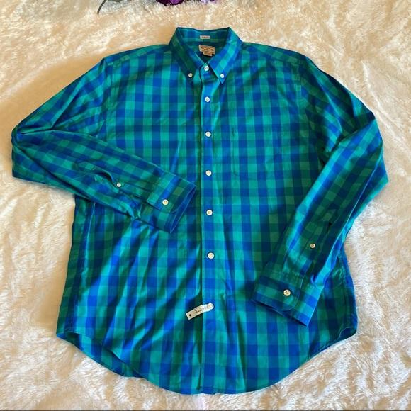 J. Crew Slim Fit Blue Plaid Button Up Shirt Sz L